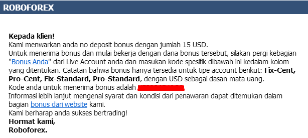 Email Bonus Roboforex