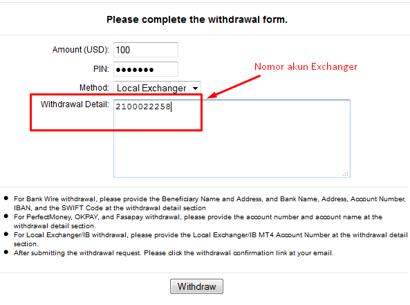 Withdraw Lokal FrewoodFX