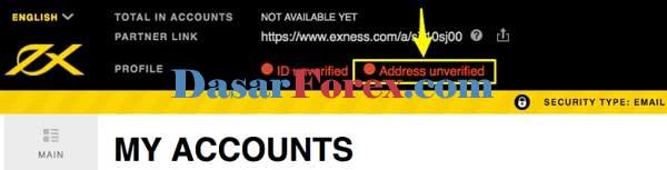 Verifikasi alamat Exness