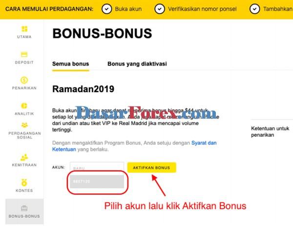 Aktifkan akun bonus EXNESS